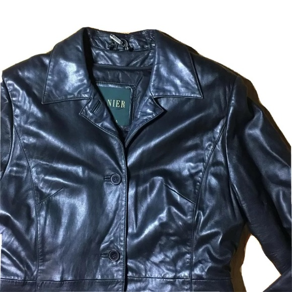 Y2K Danier Black Leather Trench Coat